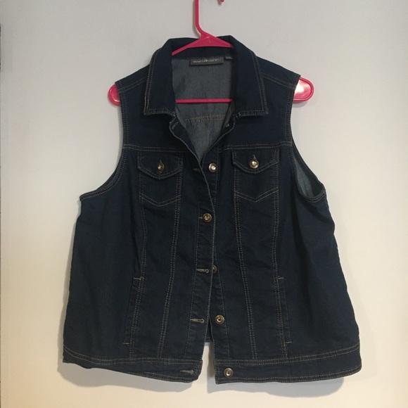 Avenue Jackets & Blazers - Avenue Jean Vest with gem buttons